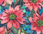 "Moda Fabric - Starflower Christmas by Create Joy Project - 8480 14 - Cotton Fabric - Poinsettias navy background - 44"" wide - 1/2 yard"