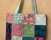 Moda - Charm Street Market Tote Kit - DIY bag Kit -  Longitude by Kate Spain - Navy print lining and straps  - Batik