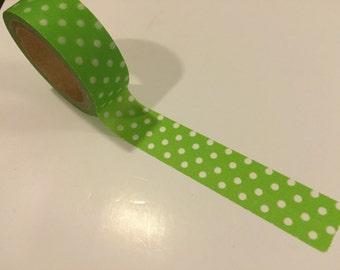 """Green polka dot washi tape sample 18"""""""