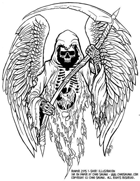 Grim Reaper Original Ink Drawing Etsy