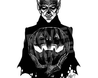Monster Holiday: Vampire Original Halloween Ink Drawing