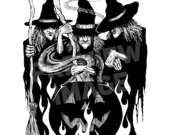 Cauldron Crones Original Halloween Ink Drawing