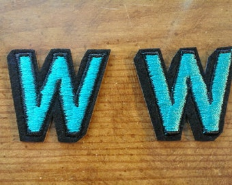 Letter W in Green Iron On applique 250062