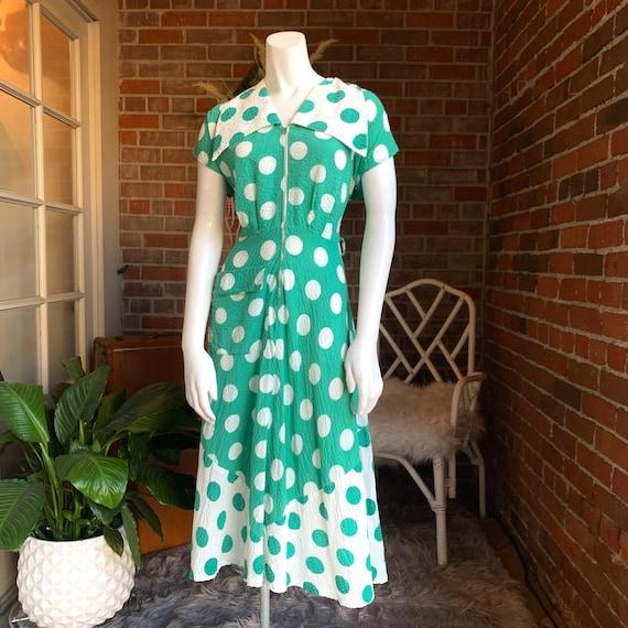 1940s Green and White Polka Dot Dress