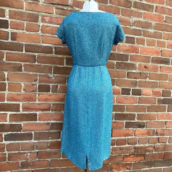 1950s Blue Lurex Dress VLV - image 2