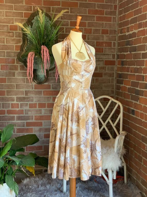 1950s Kamehameha Copper and Gold Halter Dress