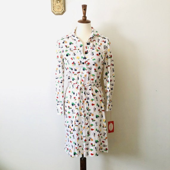1970s Fruit Print Shirt Dress Deadstock