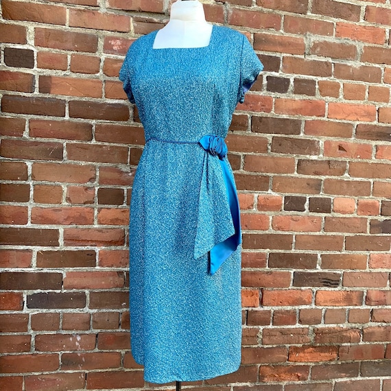 1950s Blue Lurex Dress VLV