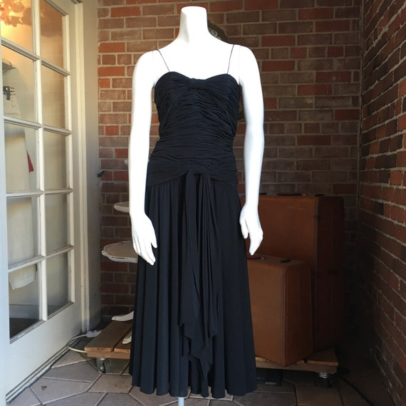 1980s Oleg Cassini Ruched Dress