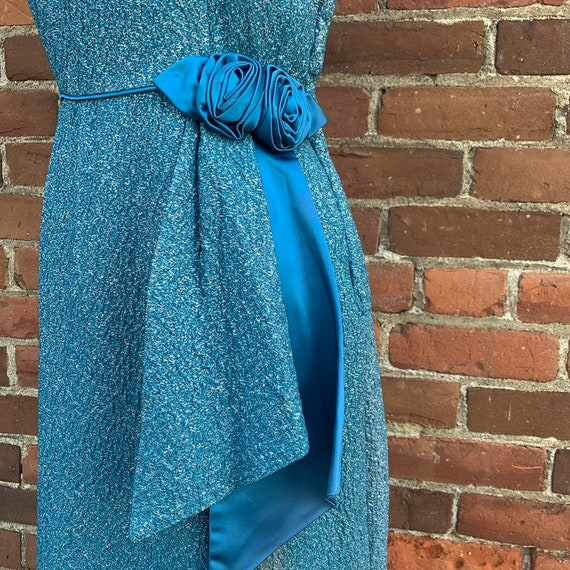 1950s Blue Lurex Dress VLV - image 3
