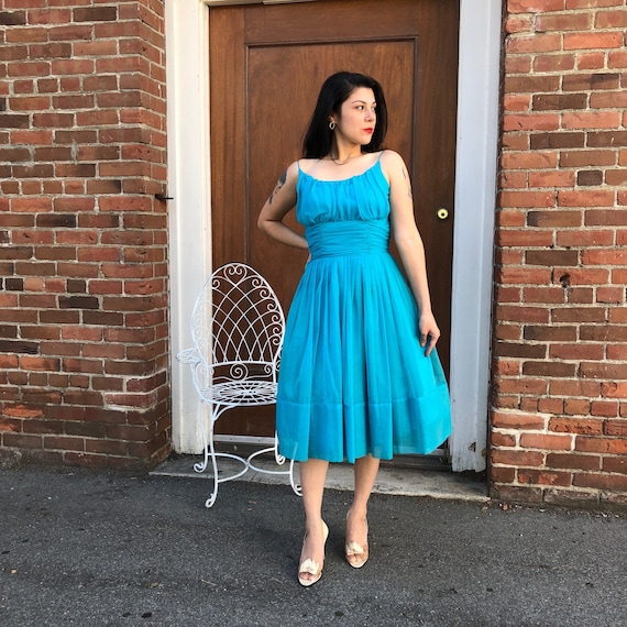 1950's Blue Princess Dress