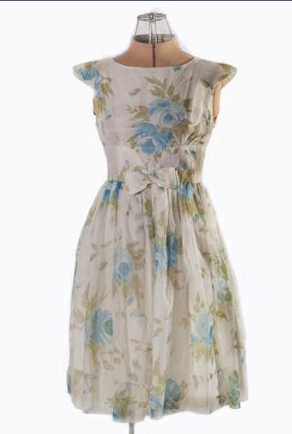 1950s Blue Floral Chiffon Party Dress VLV