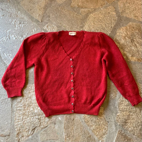 1980s does 1930s Cranberry Puff Sleeve Cardigan