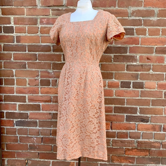 1950s Gold and Champagne Lurex Dress