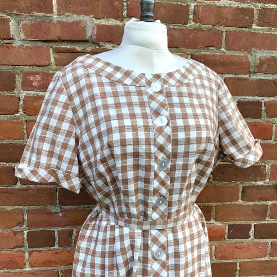 1950s Tan and White Gingham Dress - Plus Size