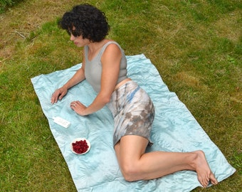 natural dyed knit mini skirt - walnut, indigo