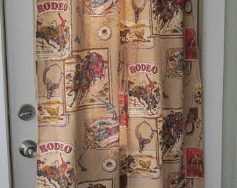 Vintage Cowboy Rodeo Bucking Bronco Stagecoach Western 2 Curtain Panels 28 X 65