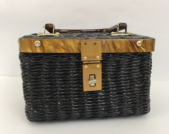 c51874fffa77 Vintage Black Waxed Straw Box Trunk Style Handbag with Bakelite Handle and  Trim