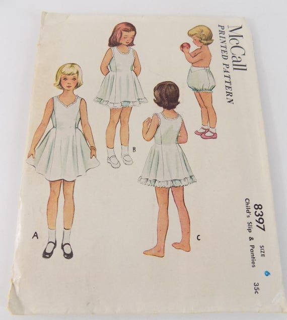 Mccalls 8397 Girls Size 6 Slip And Panties 1951 Sewing Pattern Etsy
