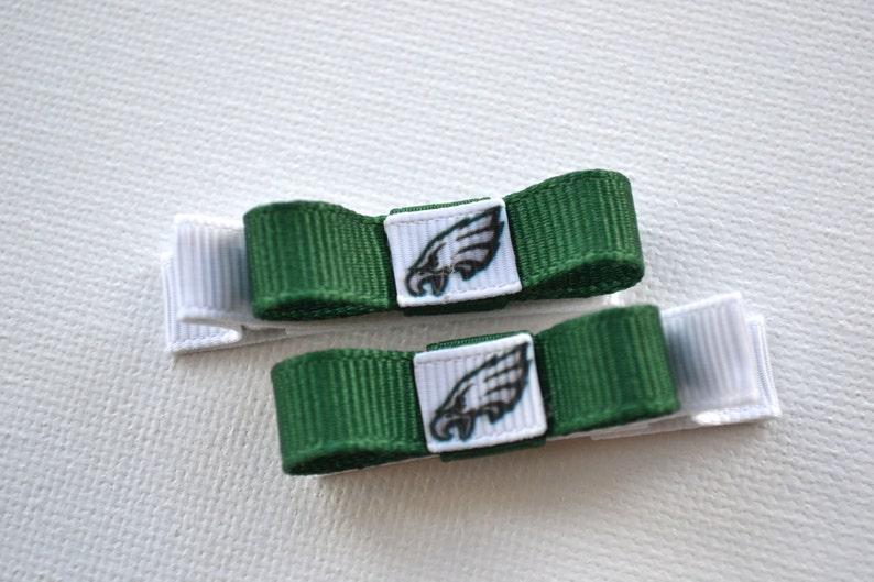 Philadelphia Eagles Bows Philadelphia Eagles Hair Clips hair clips Philadelphia Eagles Stocking Stuffer toddler hair clips Eagles baby