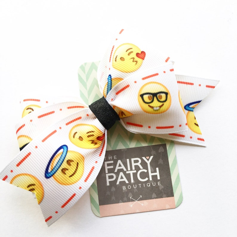Emoji hair bow emoji party favor emoji gift 4 inch bow image 1