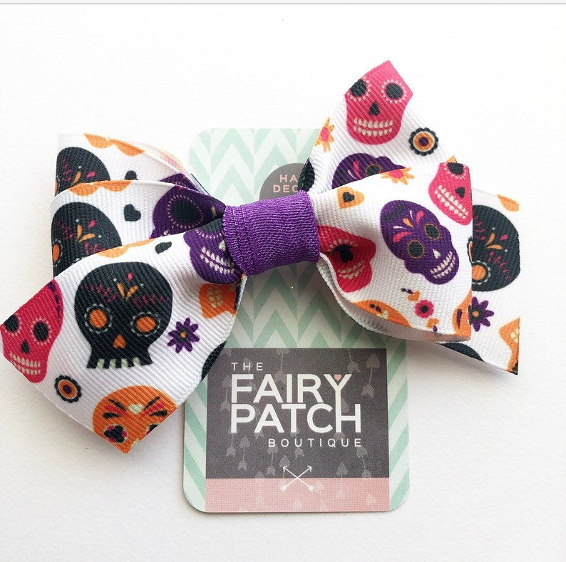 Mini Day of the Dead Skulls Hair Bows with Alligator Clips