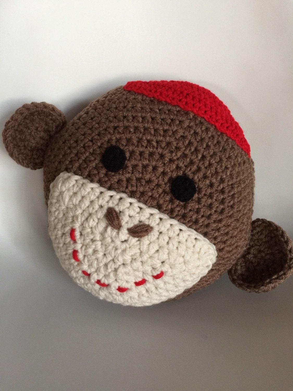 Crochet Sock Monkey Pillow Etsy