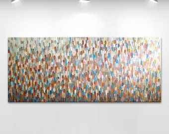 XXLarge Original abstract painting on canvas 'Abstract #48', - MADE2ORDER turquoise, beige, white, neutral, copper