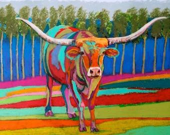 Wolf Kahn Jack Texas Longhorn Painting