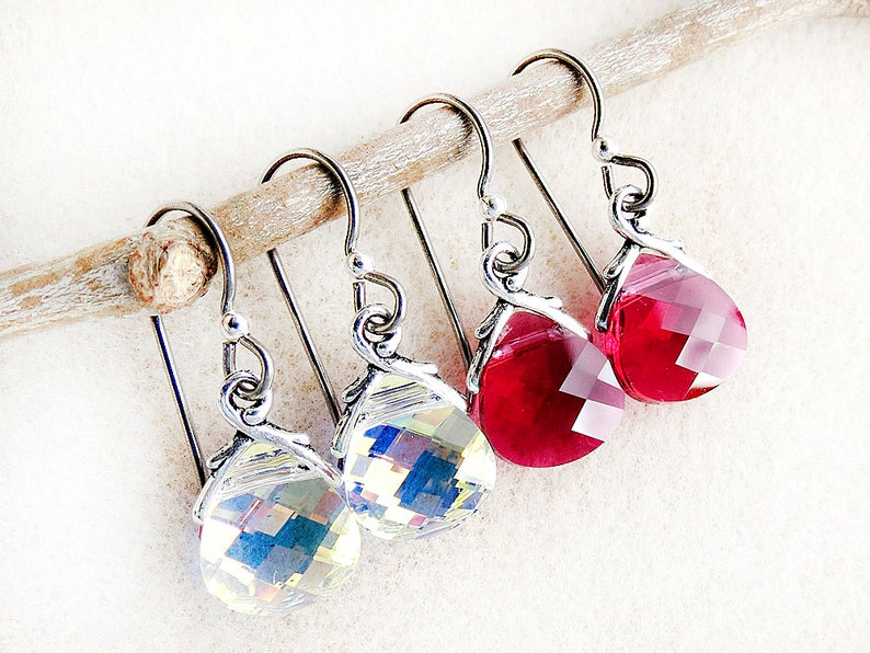 Red Swarovski Earrings, Ruby Red, Brilliant Crystal, Niobium, Silver,  Non-allergenic, Hypoallergenic, Handmade, Gift for Woman, Gift for Her