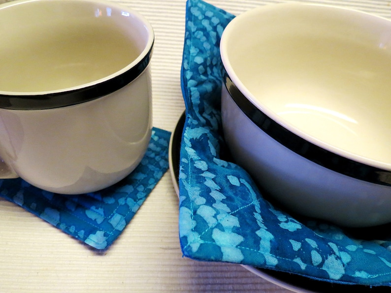 Teacher Gift Quilted Reversible Blue Coaster and Cozy Set Batik Bowl Cosy Microwave Bowl Cozy Hostess Gift 100 Percent Cotton