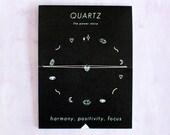 Quartz Crystal Choker Necklace on Silk Cord - friendship bracelet - gold - bridesmaid gift - birthday - best friends - bff - love
