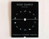 Rose Quartz Crystal Choker Necklace on Silk Cord - friendship bracelet - gold - bridesmaid gift - birthday - best friends - love - valentine