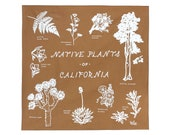Native Plants of California Screen Printed Cotton Bandana - screen printed - 100% cotton - made in the USA - los angeles - california