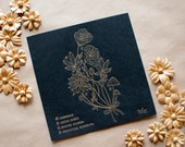 Psychoactive Plants Letterpress Print - made in LA - handmade - gold and black - 70s - psychedelic - classic - floral - bouquet - mushroom