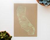 California Screen Print - 5x7 - Succulents - original screen print - ooak - cactus - kraft - mint green
