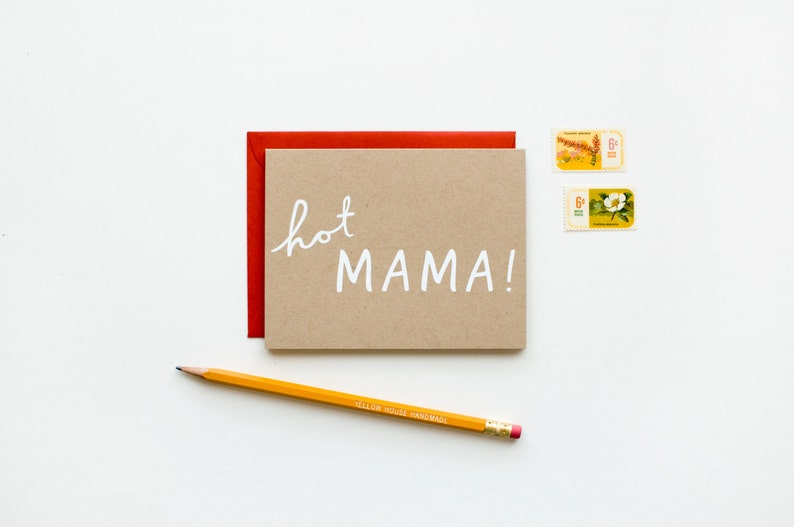 screen printed funny pregnancy Baby modern Mother/'s Day congrats Hot Mama white on kraft funny
