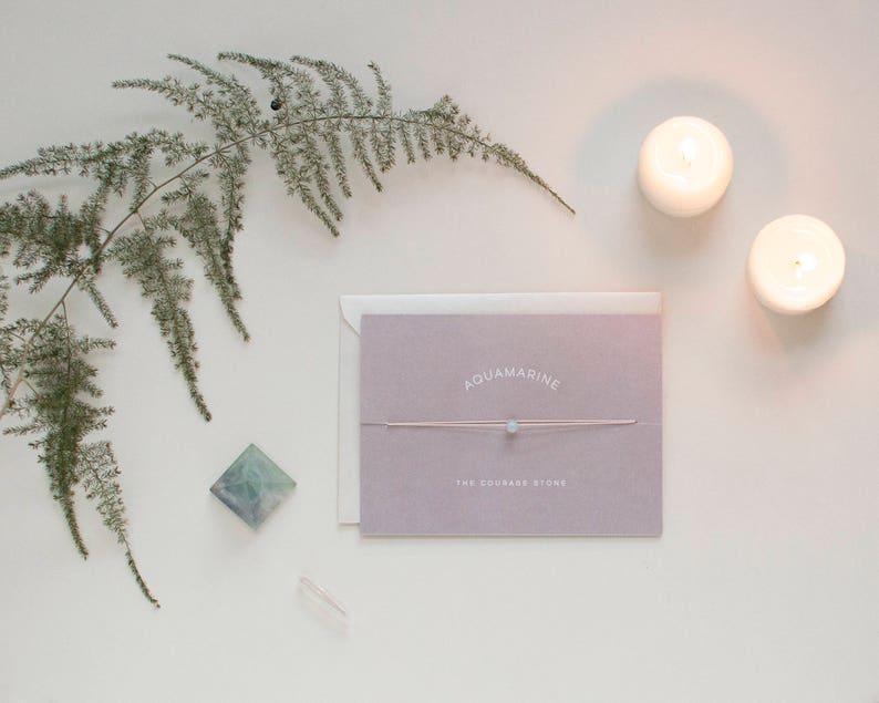 Aquamarine Choker  Crystal Card  friendship necklace or image 0