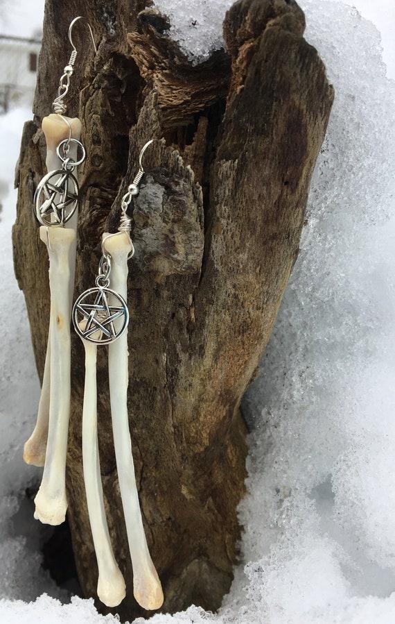 Long Bone Earrings Red Fox Front Leg Bones Reclaimed
