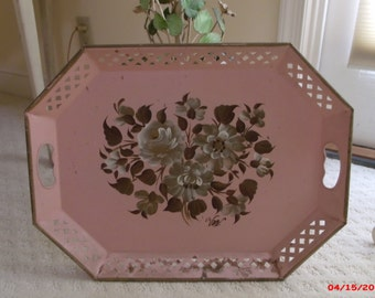 Vintage Pink Tole Tray Reticulated Shabby Cottage Chic