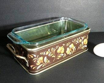 Vintage Pyrex Windsong Metal Stand for 213 Loaf Pan Holder / Pyrex Fireside Originals Brown Toleware Caddy for 213 Loaf Pan