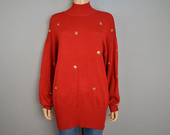 80s St. John Sweater Mock Neck Bright Red With Gold Button Embellishments Long Designer Sweater Size Small 80s Clothing Epsteam