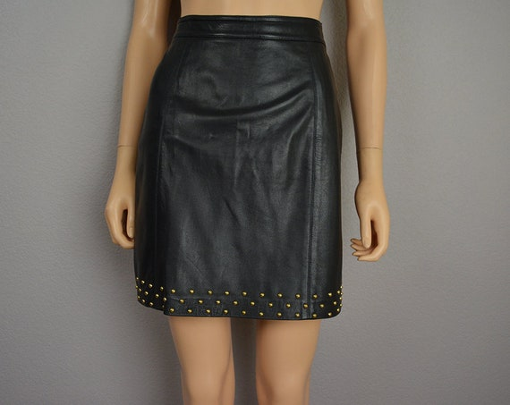 80s Women's Leather Mini Skirt Black Gold Studded Embellished Small Punk Rock Skirt 80s Clothing Epsteam