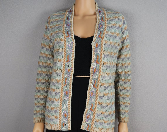Seafoam Green Cardigan Long Sleeve Crochet Vintage Cardigan With Pearls and Beaded Details Epsteam