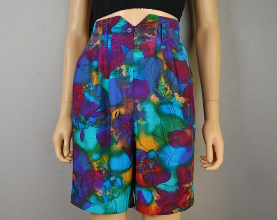 Watercolor Print Shorts 80s High Waisted Shorts Bright Blue and Purple Floral Rayon Shorts Size 5 Epsteam