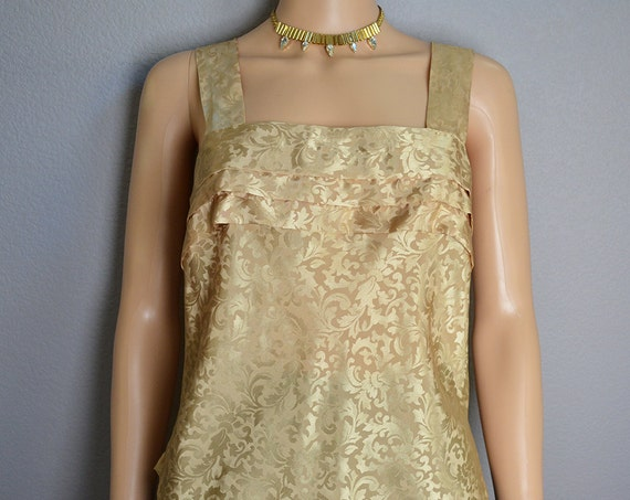 80s Gold Tank Damask Print Tank Top Ruffled Tank Silky Tank Top Gold Camisole 80s Clothing Epsteam