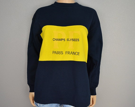 90s Women's Oversized Paris Champs Elysees Sweatshirt Striped Navy and Yellow Color Block Crew Neck Long Sleeve Size Medium Epsteam
