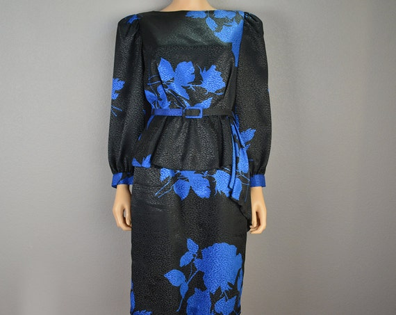 80s Peplum Dress Black and Blue Dress With Matching Belt and Long Sleeves 80s Clothing Epsteam