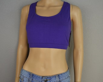 8b6fcf98ad NWT 90s Women s Sports Bra BodyMoves by Jacques Moret Size XL Purple Cotton  Blend 90s Workout Clothes Athleasure Epsteam