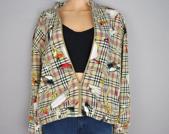 90s Women's Golf Themed Windbreaker Size Extra Large Petite Beige Plaid Long Sleeve Zip Up 90s Clothing Epsteam
